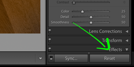 Screenshot showing a part of the Lightroom UI with an arrow pointing to the reset button