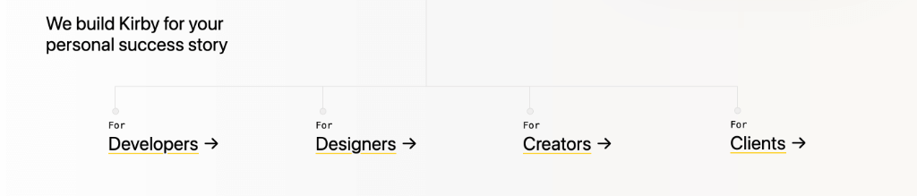 Screenshot of the footer navigation on the new Kirby website showing the different target groups